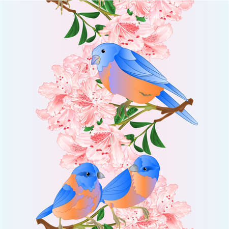 Vertical seamless background border small  birds Bluebirds  thrush and light pink rhododendrons branch watercolor vintage vector illustration editable hand draw Stock Illustratie