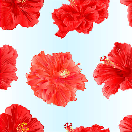 Seamless texture tropical plants hibiscus pink  flowers   watercolor vintage vector illustration editable hand draw natural