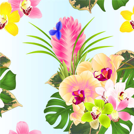 Seamless texture tropical flowers yellow orchid Phalaenopsis and  cymbidium various bouquet with Tillandsia cyanea , palm,philodendron on a white background vintage vector illustration editable hand draw