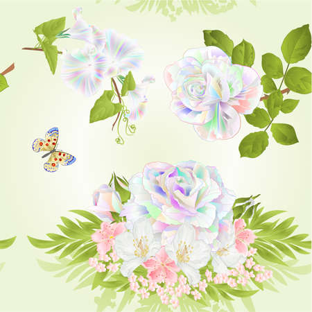 Seamless texture rose multicolored cherry blossom and jasmine with butterfly green background watercolor vintage vector botanical illustration editable hand draw