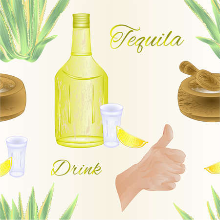 Seamless texture glass of tequila with salt and lime Cactus agave and o.k.human hand design element for label and poster   watercolor vintage vector editable hand drawn Иллюстрация