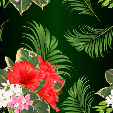 Seamless texture bouquet with tropical flowers floral arrangement, with beautiful red hibiscus and pink orchids cymbidium Ficus benjamina and ficus natural background vintage vector illustration  editable hand draw Иллюстрация