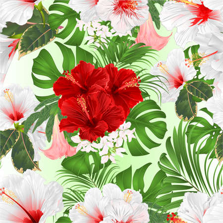 Seamless texture tropical flowers  floral arrangement beautiful Brugmansia   with red ad white hibiscus  , palm,philodendron and Brugmansia  vintage vector illustration  editable hand draw