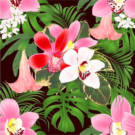 Seamless texture with tropical flowers  floral arrangement, with beautiful various orchids cymbidium, palm,philodendron and Brugmansia  vintage vector illustration  editable hand draw