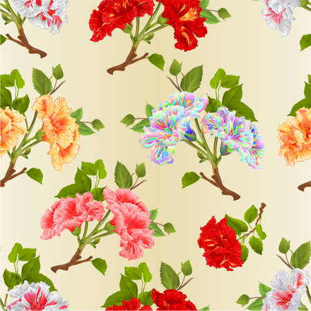 Seamless texture  branches yellow,red, pink,white  hibiscus tropical flowers natural watercolor  vintage  vector editable botanical illustration editable hand draw