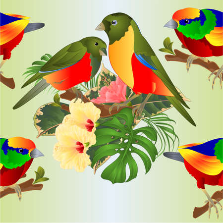 Seamless texture   tropical birds   bouquet with tropical flowers hibiscus on a branch palm,philodendron on a white background vintage vector illustration editable hand draw Иллюстрация