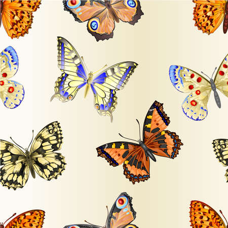 Seamless texture butterflies various mountain meadow and forest butterflies environment watercolor vintage on a white background vector illustration editable hand draw