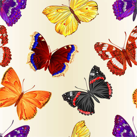 Seamless texture various butterflies mountain meadow and forest butterflies environment watercolor vintage on a white background vector illustration editable hand draw