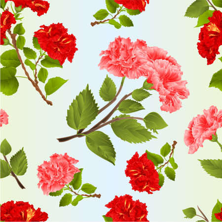 Seamless texture red and pink hibiscus branches tropical flowers watercolor on a blue background vintage  vector botanical illustration editable hand draw