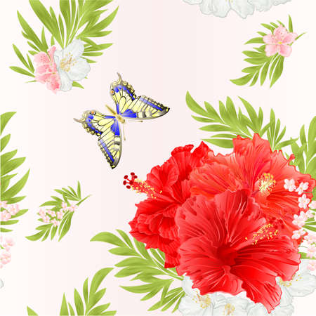 Seamless texture pink hibiscus tropical flowers  with jasmine flowers and butterfly watercolor vintage  vector editable illustration hand drawn