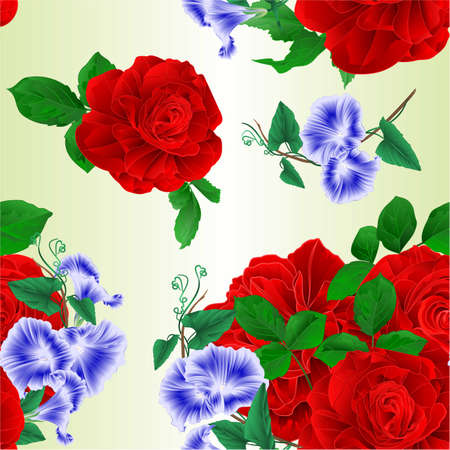 Seamless texture bouquet  red and Morning glory  festive background watercolor vintage vector botanical illustration editable hand draw Vectores