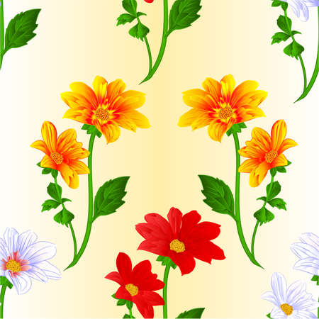 Seamless texture Dahlia red white yellow silhouette summer flowers stems various colors for spring season as graphic elements and decorations festive background vector illustration vector illustration editable hand draw Vectores