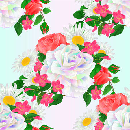 Seamless texture bouquet  multicolored and pink roses and daisy and Weigela   on a blue background watercolor vintage vector botanical illustration editable hand draw