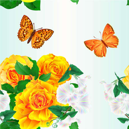 Seamless texture bouquet  yellow roses and Morning glory  butterflies festive background watercolor vintage vector botanical illustration editable hand draw Vectores