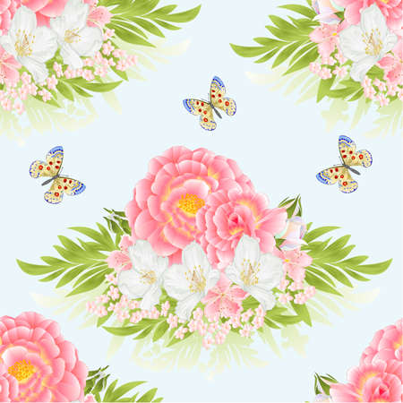 Seamless texture rose pink with orange center cherry blossom and jasmine with butterfly green background watercolor vintage vector botanical illustration editable hand draw