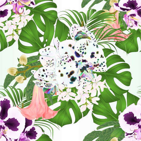 Seamless texture bouquet with tropical flowers  floral arrangement, with beautiful dots  orchids Phalaenopsis  palm,philodendron and Brugmansia  vintage vector illustration  editable hand draw Vectores