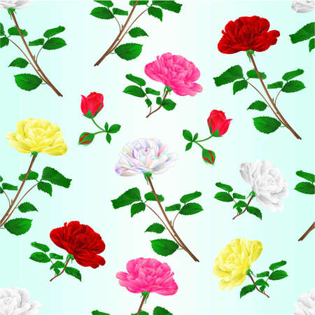 Seamless texture various  red pink white yellow rose stem with leaves natural watercolor vintage festive background vector illustration editable hand draw