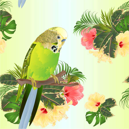 Seamless texture green  Budgerigar, home pets ,green  parakeet  on a branch bouquet with tropical flowers hibiscus, palm,philodendron watercolor vintage vector illustration editable hand draw Stock Illustratie