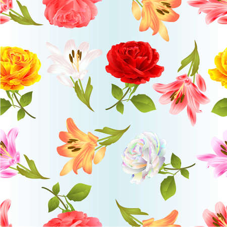 Seamless texture roses   and lily red pink white yellow   twig with leaves on a blue background vintage vector illustration editable hand draw