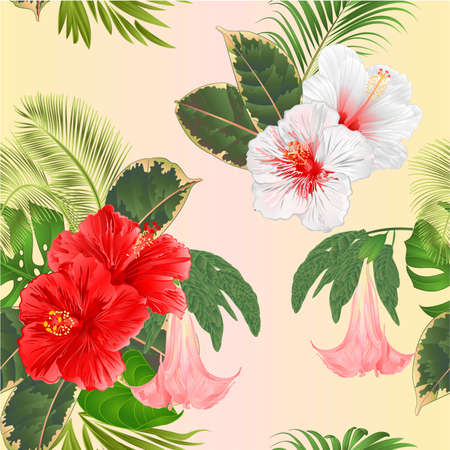 Seamless texture tropical flowers  floral arrangement, with   pink and white  hibiscus and Brugmansia  palm,philodendron  vintage vector illustration  editable hand draw Stock Illustratie