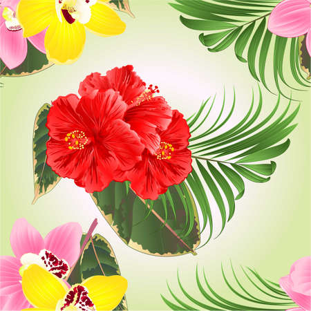 Seamless texture tropical flowers  floral arrangement, with pink hibiscus orchids cymbidium palm ficus  on a green background watercolor vintage vector editable hand draw Stock Illustratie