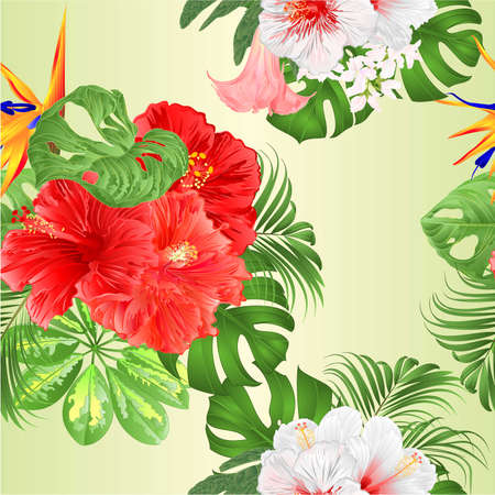 Seamless texture bouquet with tropical flowers  floral arrangement with  Strelitzia and pink and white hibiscus   palm,philodendron and Schefflera and Monstera watercolor vintage vector illustration  editable hand draw