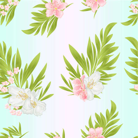 Seamless texture ornamental leaves and jasmine and sakura on a white background  watercolor vintage  vector editable illustration hand drawn Stock Illustratie