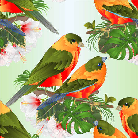 Seamless texture tropical birds cute small  funny  birds and white hibiscus watercolor style on a white background vintage vector illustration editable hand draw Stock Illustratie