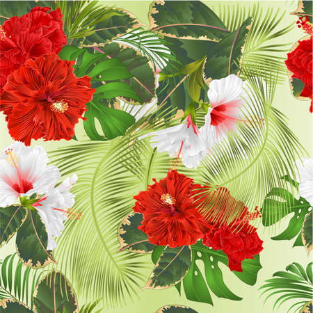 Seamless texture bouquet with tropical flowers set floral arrangement with beautiful white and red hibiscus corrugated palm,philodendron and ficus vintage vector illustration  editable hand draw