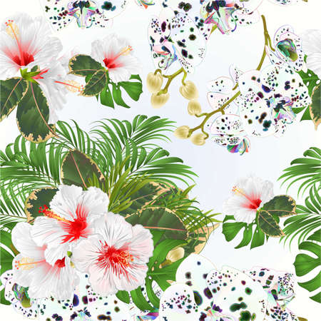 Seamless texture bouquet with tropical flowers  floral arrangement, with white   hibiscus and multicolored orchid palm,philodendron  watercolor vintage vector illustration  editable hand draw