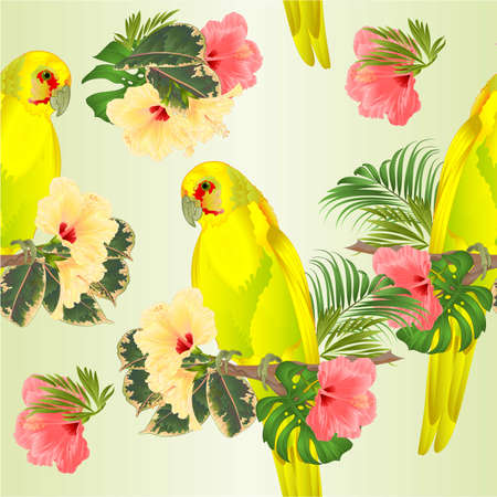 Seamless texture parrot in Yellow bird Indian Ringneck Parrot alexander in Yellow on branch with tropical flowers hibiscus, palm,philodendron watercolor on a white background vintage vector illustration editable Hand draw