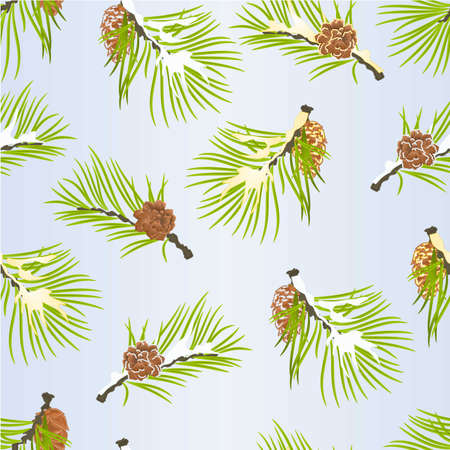 Seamless texture Christmas and New Year  tree branches golden and snow pine cones   vintage vector illustration editable hand draw