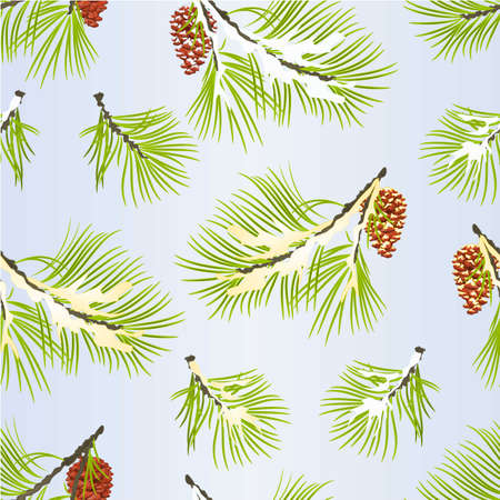 Seamless texture decoration Christmas and New Year  fir tree branches golden and snow pine cones  vintage vector illustration editable hand draw