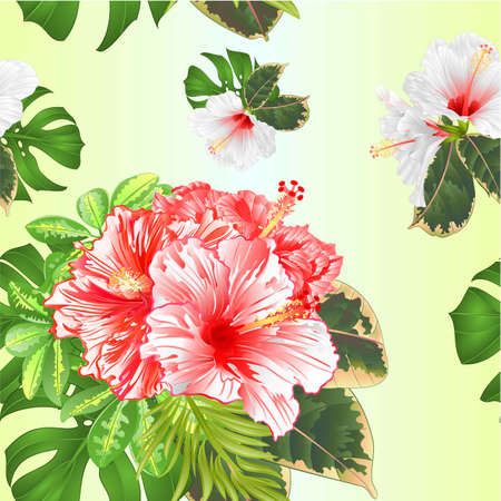 Seamless texture bouquet with tropical flowers  pink and white   hibiscus, Schefflera ,philodendron and ficus natural background vintage vector illustration  editable hand draw