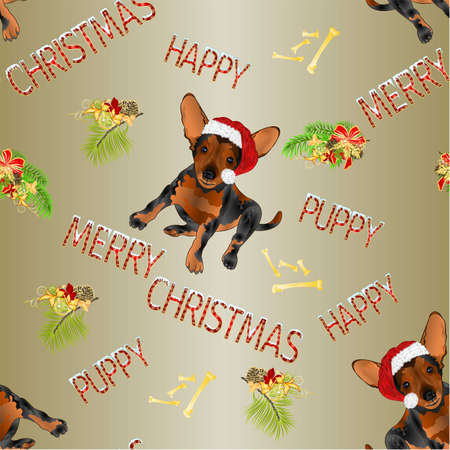 Seamless texture happy puppy dog Santa Merry Christmas and New yar and lettering lettering  vintage vector illustration editable hand draw