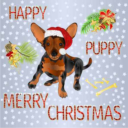 Happy puppy dog Santa Merry Christmas and New yar and lettering and snow  vintage vector illustration editable hand draw Stock Illustratie
