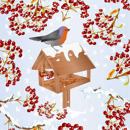 Seamless texture  landscape  with snow and robin bird with feeder and rowan berry christmas theme natural background vintage vector illustration editable hand draw
