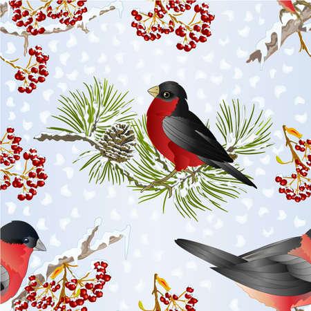Seamless texture small birds bullfinch  songbirdon on a pine branch  on snowy and rowan berry winter background vintage vector illustration editable hand draw Stock Illustratie