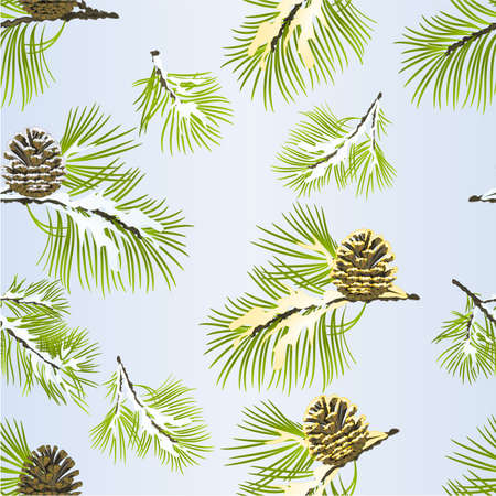 Seamless texture  Christmas and New Year decoration golden pine cone and snow pine cone  fir tree branches vintage vector illustration editable hand draw
