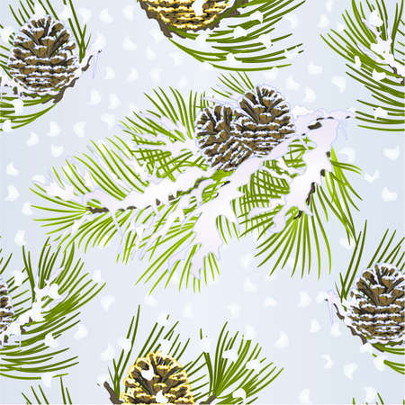 Seamless texture Christmas theme and New Year decoration golden pine cone and snow pine cone fir tree branches vintage vector illustration editable hand draw