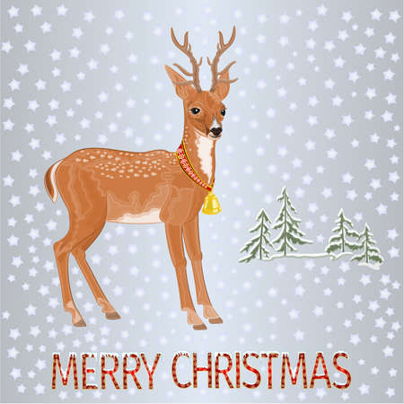 Young deer in winter landscape with falling snow and inscription Merry Christmas festive  background