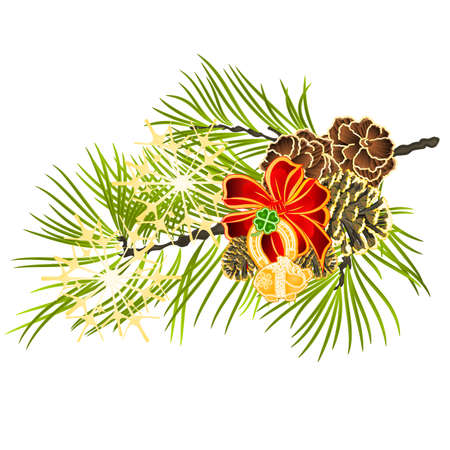 Christmas and New Year decoration Cloverleaf and horseshoe with golden leaves and fir tree branch with pine cones and golden snowflake vintage vector illustration editable hand draw Stock Illustratie