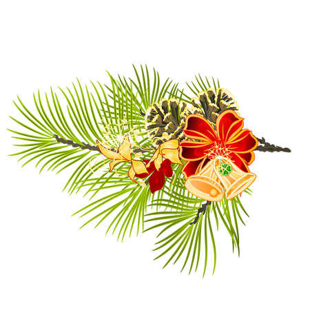 Christmas and New Year decoration bow festive poinsettia  and bells   fir tree branch with pine cones and golden snowflake vintage vector illustration editable hand draw