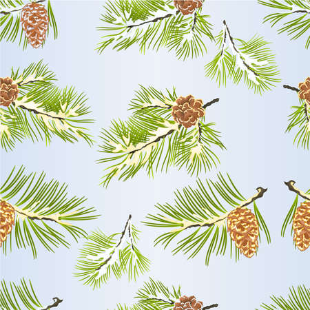 Seamless texture  fir tree branches of Christmas and New Year decoration pine cones and snow vintage vector illustration editable hand draw Stock Illustratie