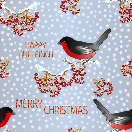 Seamless texture small bird bullfinch on a rowanberry branch Merry Christmas and New yar and lettering and snow vintage vector illustration editable hand draw