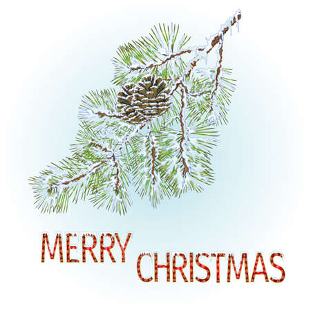 Pine branches with pine cones with the inscription Merry Christmas background vintage vector illustration editable hand draw