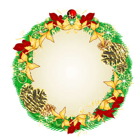 Christmas and New Year wreath decoration red and golden poinsettia spruce tree branches pine cones and golden snowflakes vintage vector illustration editable hand draw Stock Illustratie