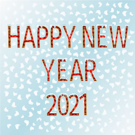 Lettering with golden stars with snow happy New Year 2021  watercolor vintage vector illustration editable hand draw Stock Illustratie