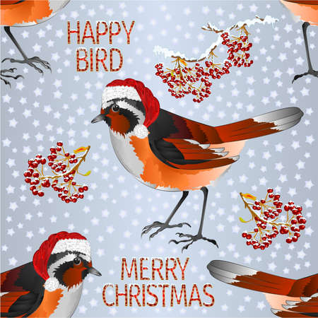 Seamless texture happy  small bird Black Redstart Santa Merry Christmas and New yar and lettering and snow  vintage vector illustration editable hand draw Stock Illustratie