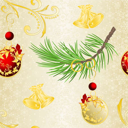Seamless texture Christmas and New Year decorative branch christmas tree festive poinsettia  and golden and red balls vintage vector illustration editable hand draw